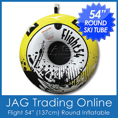 "FLIGHT 54"" (137cm) LARGE WATER SKI TUBE INFLATABLE/BISCUIT - Round 1 Person Tow"