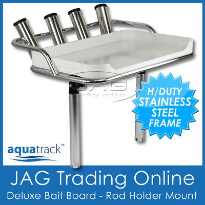 AQUATRACK DELUXE STAINLESS STEEL BAIT BOARD & ROD HOLDERS - Boat/Cutting/Fishing