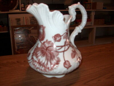 Pitcher Water Fancy Antique For Bathing White Porcelain W/poppy Flowers In Brown