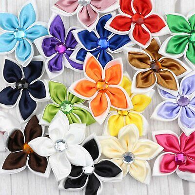DIY 5-25-50PCS Satin Ribbons Flowers crystal Crafts Wedding Appliques 23 Colors