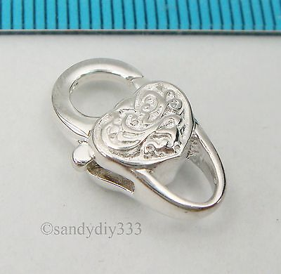 1x BRIGHT STERLING SILVER HEART HEAVY LOBSTER TRIGGER CLASP BEAD 17.5mm N336
