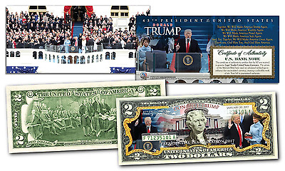 DONALD TRUMP 45th Presidential INAUGURATION Official U.S. $2 Bill w/ 2-Sided COA