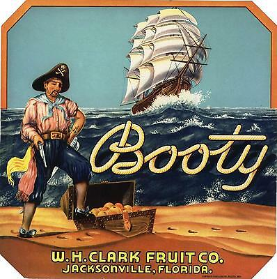 Booty Crate Label Florida Jacksonville Pirate Ship Vintage Original Bootlegger