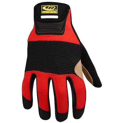 Ringer's 355-10 Red Nylon Stretch Leather Palm Rope Rescue Glove - Large