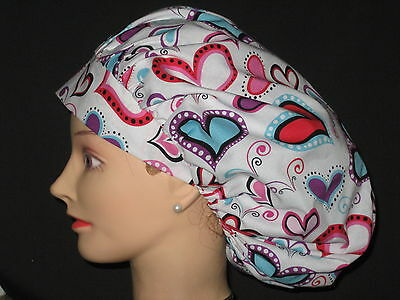 Surgical Scrub Hats/Caps Valentines Days pink & blue hearts on white background