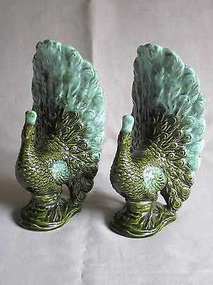 Vintage Pair Blue Green Ceramic Peacock Figurines
