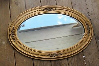 Vintage Large Wood Oval Framed Glass Beveled Mirror