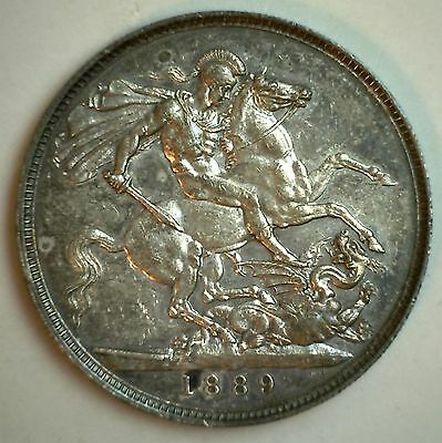 1889 Silver British Crown Victoria Great Britain UK Coin UNC Beautiful Toning