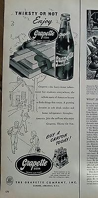 1950 grapette soda bottle carton thirsty or not enjoy ad