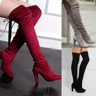 Womens Ladies Suede Over The Knee Block Thigh High Platform Heel Lace Boots