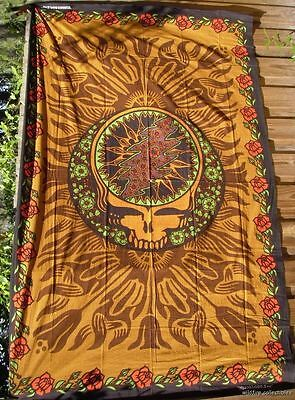 GRATEFUL DEAD STEAL YOUR FACE ROSES 60X90 WALL TAPESTRY JERRY GARCIA syf skull