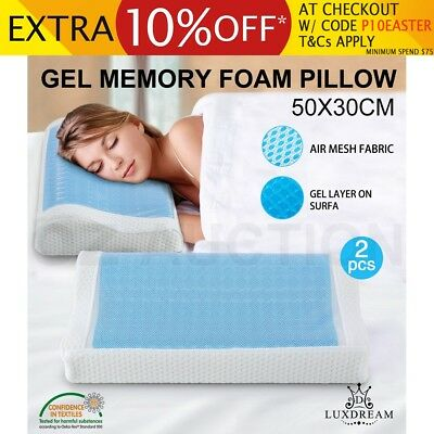 2 x Gel Memory Foam Pillow Contour Blue Cool Gel Top w/ Air Mesh Fabric Cover
