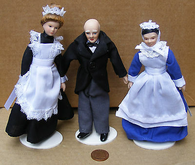 1:12 Scale Set Of 3 Victorian Servants Dolls House Miniature People Accessory