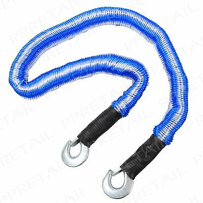 HUGE 4M STRETCH TOW ROPE 3 TON MAX LOAD Break Down Strap Hook Clasp Heavy Duty