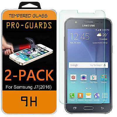 2x Premium 9H Tempered Glass Film Screen Protector for Samsung Galaxy J7 (2016)