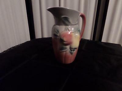 Royal Copley Pome Fruit Pitcher  8 inch in Airbrushed Pink & Greens