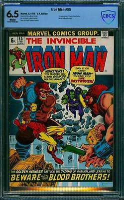 Iron Man # 55  Starlin First Thanos, Drax the Destroyer ! CBCS 6.5 scarce book !