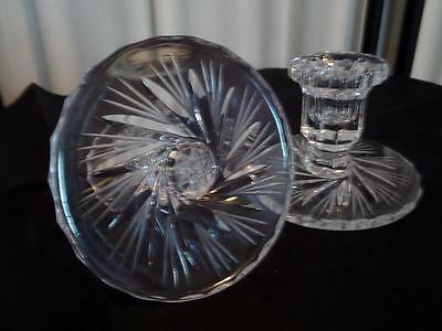 Vintage Pinwheel Candle Holders from Poland...Handcut 24% Lead Crystal..Pair..