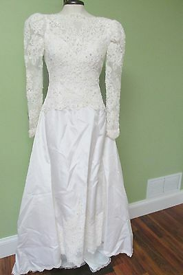 "White Wedding Gown W/ Beaded Bodice And Full Skirt, Long Train /  34"" Bust"