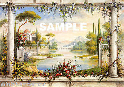 Dolls House Wallpaper Mural 1/12th scale Quality Paper #03 Miniature
