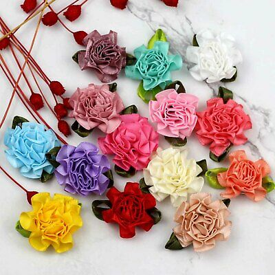 10-50-100pc DIY Satin Ribbon Carnations Flowers Appliques/craft/Wedding Supplies
