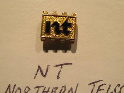 Northern Telecom Vintage nt Small Gold with Blue Enamel Lettering Lapel Pin