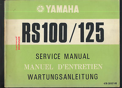 Genuine Yamaha RS100 RS125 (1974-1975) Factory Work-Shop Manual RS 100 125 478