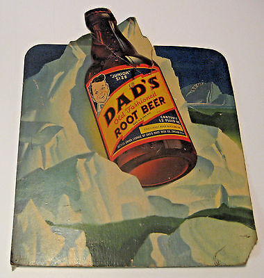 Vintage Dad's Root Beer Soda Pop Advertising Stand Up Cardboard Sign ~ Very Old