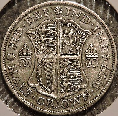British Silver Half Crown - 1929 - King George V - $1 Unlimited Shipping