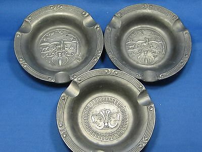 Lot of 3 Antique German Embossed & Engraved Solid Pewter Ashtrays Very Nice
