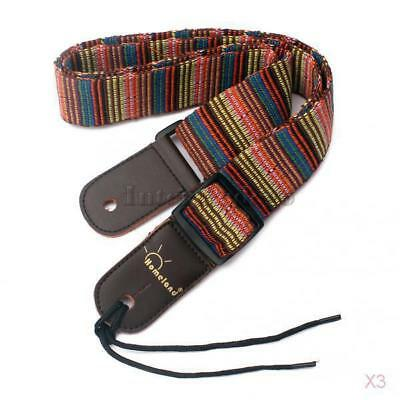 3x Nylon Guitar Strap w/ Leather Ends for Electric Acoustic Bass Guitar Ukulele