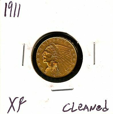 1911 G$2.5 Indian Head Gold Quarter Eagle with XF Details - Cleaned