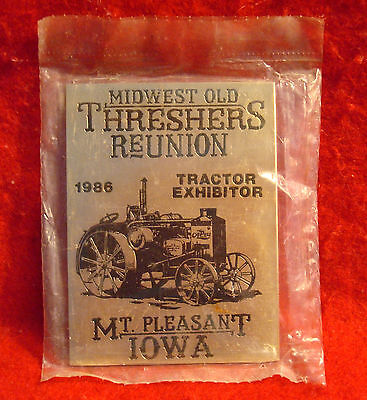 1986 Midwest Old Threshers Reunion Iowa Brass Exhibitor Plaque Rumely Oil Pull
