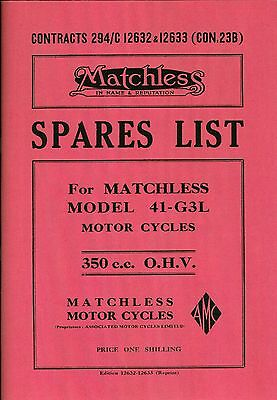 Matchless G3L WD 350 Illustrated Spares List Clear High Quality Motorcycle Book