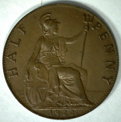 1922 Bronze Half Pence UK Half Penny Britain Coin YG