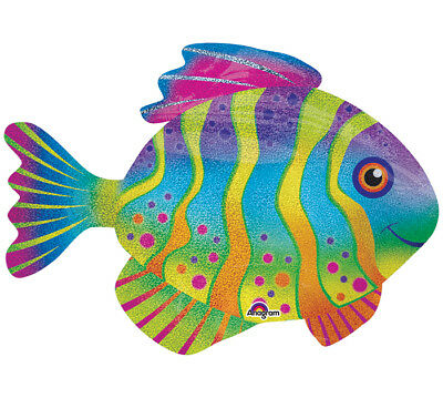 "33"" Stripes And Dots Colorful Tropical FISH Sea Ocean Party Balloon"