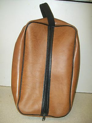 True Vintage 60's 70s Leatherette Vinyl Travel Zipped Shoe Bag Fabulous