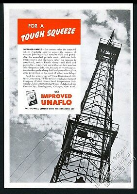1945 Unaflo oil well cement rig derrick photo vintage print ad