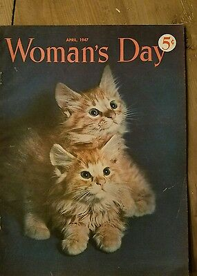 April 1947 Woman's Day magazine front cover only two kittens