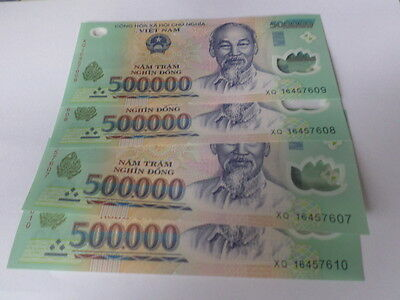 Vietnamese Currency 4x500,000 = 2 million dong Bank Notes brand new uncirculated
