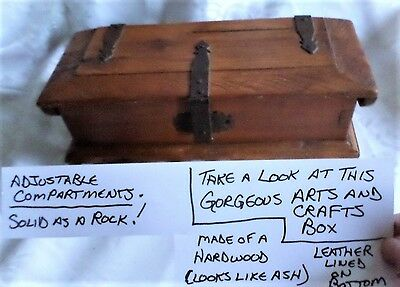 Vintage Arts and Crafts Hardwood Jewelry Box with Wrought Iron Hardware  Ash