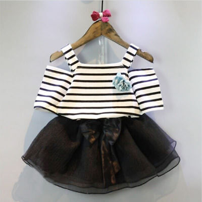 2pcs Toddler Kids Baby Girls Outfits T-shirt Strip Tops+ Skirt Dress Clothes NEW
