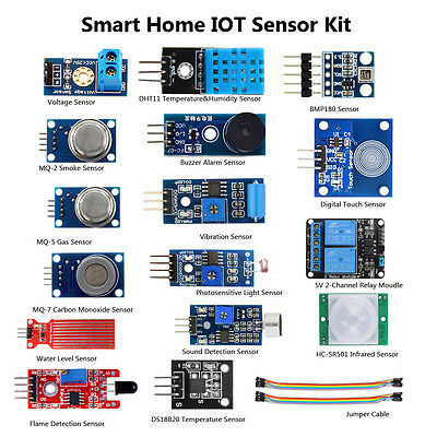 AU Smart Home DIY Projects Kit 16 + 1 Sensors Modules for Arduino Raspberry Pi