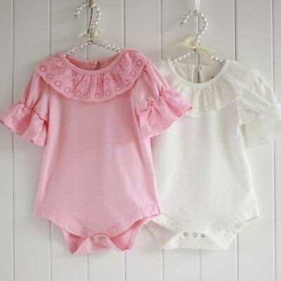 Girls Lovely Ruffled Bodysuits Short Sleeve Lace Collar Kids Baby Jumpsuit Tops