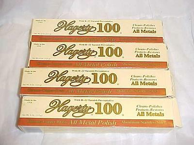 4 ~HAGERTY 100 POLISH~ Cleans Protects Metal Marble Porcelain+ 4oz Tubes LOT