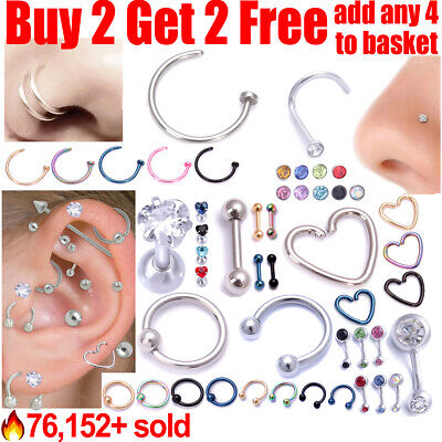 Surgical Steel Hoop Ring Bar Stud For Helix Cartilage Tragus Daith Nose Belly