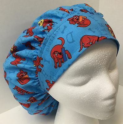 Clifford the Big Red Dog Large Medical Bouffant OR Scrub Cap Surgery Hat