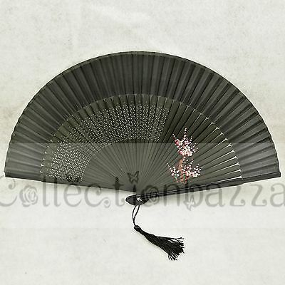 Black Chinese Bamboo Folding Silk Blossom HAND FAN for Wedding Party Gift