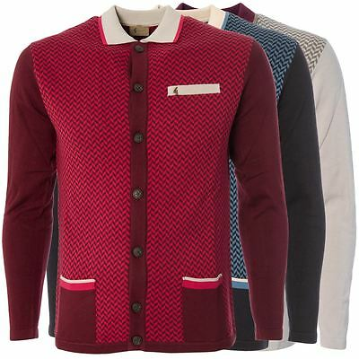 Gabicci Vintage Mens Knitted Knitwear Button up Geo Pattern Cardigan Sizes S-2XL