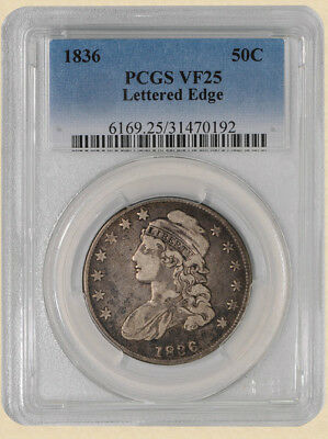 1836 Capped Bust Half 50c Lettered Edge O-120 R.4 VF25 PCGS
